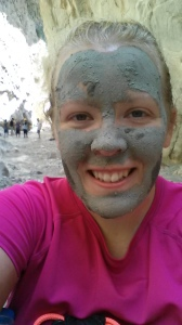 Enjoying a mud mask with a couple of Scottish teenage girls who said they liked my accent.